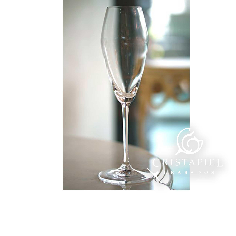 5 Copas Riedel Champagne 444/8 Grabados Cristafiel