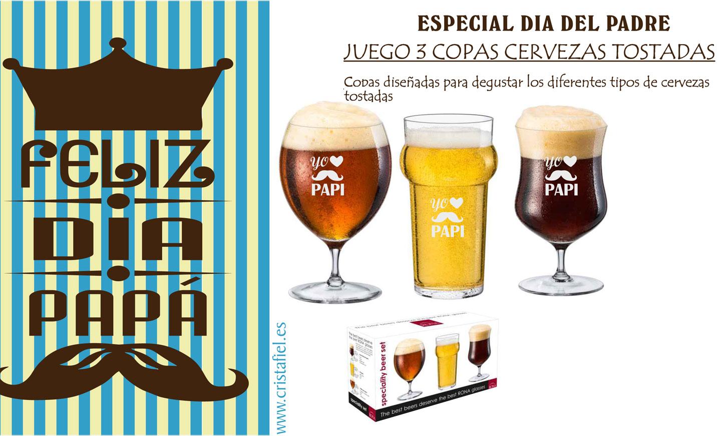 Cristafiel Juego 3 Copas de Cervezas Tostadas