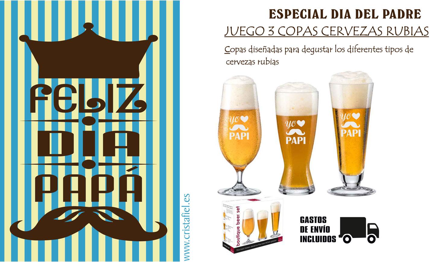 Cristafiel Juego 3 Copas de Cervezas Rubias