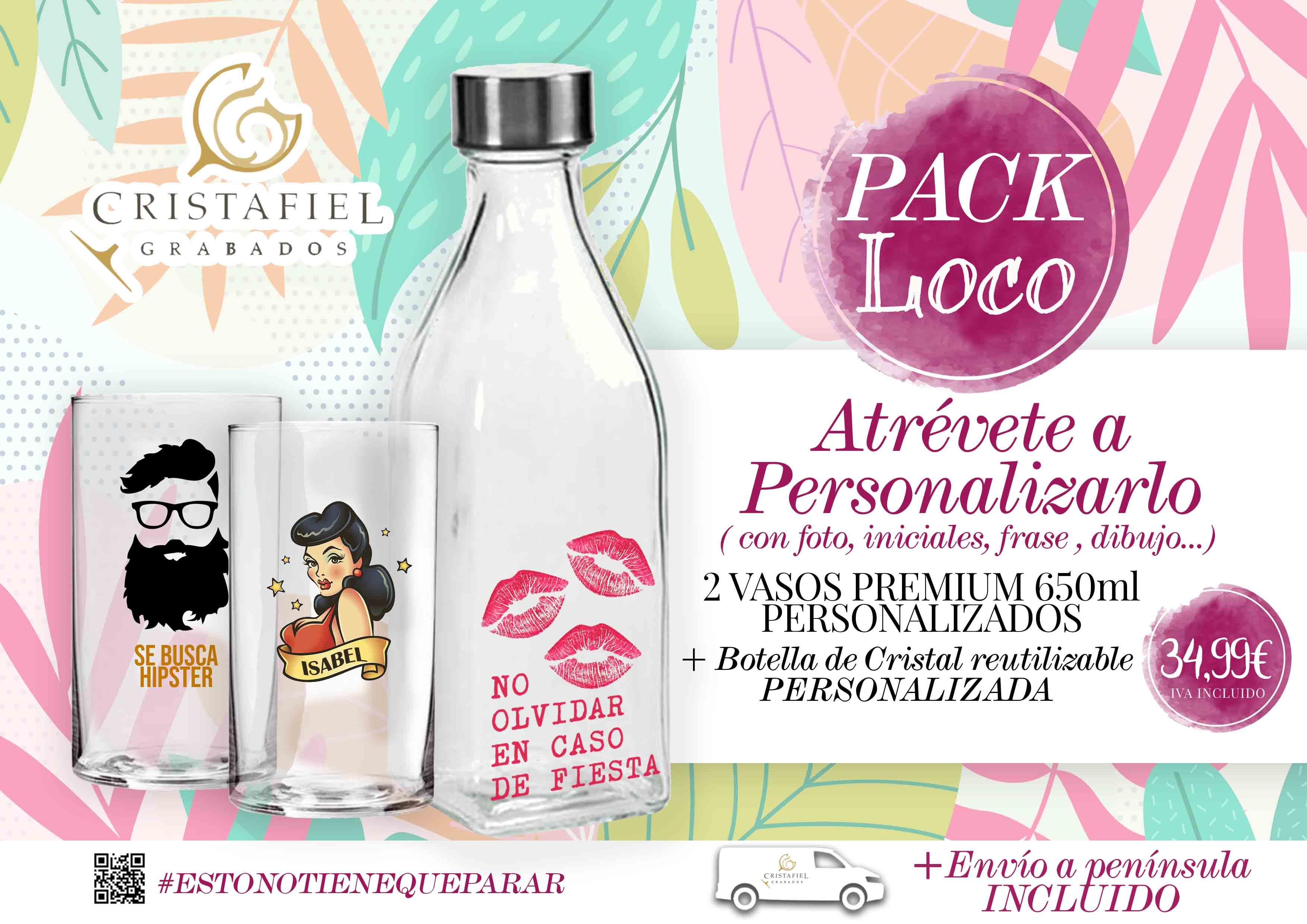 Regalo Gourmet Pack Loco Copas grabadas Grabados Cristafiel