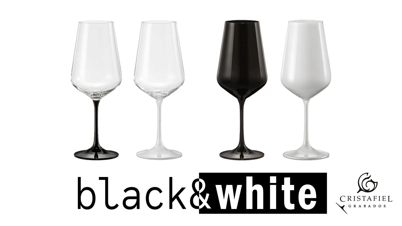 Copas Black & White Color en el Pie Grabados Cristafiel