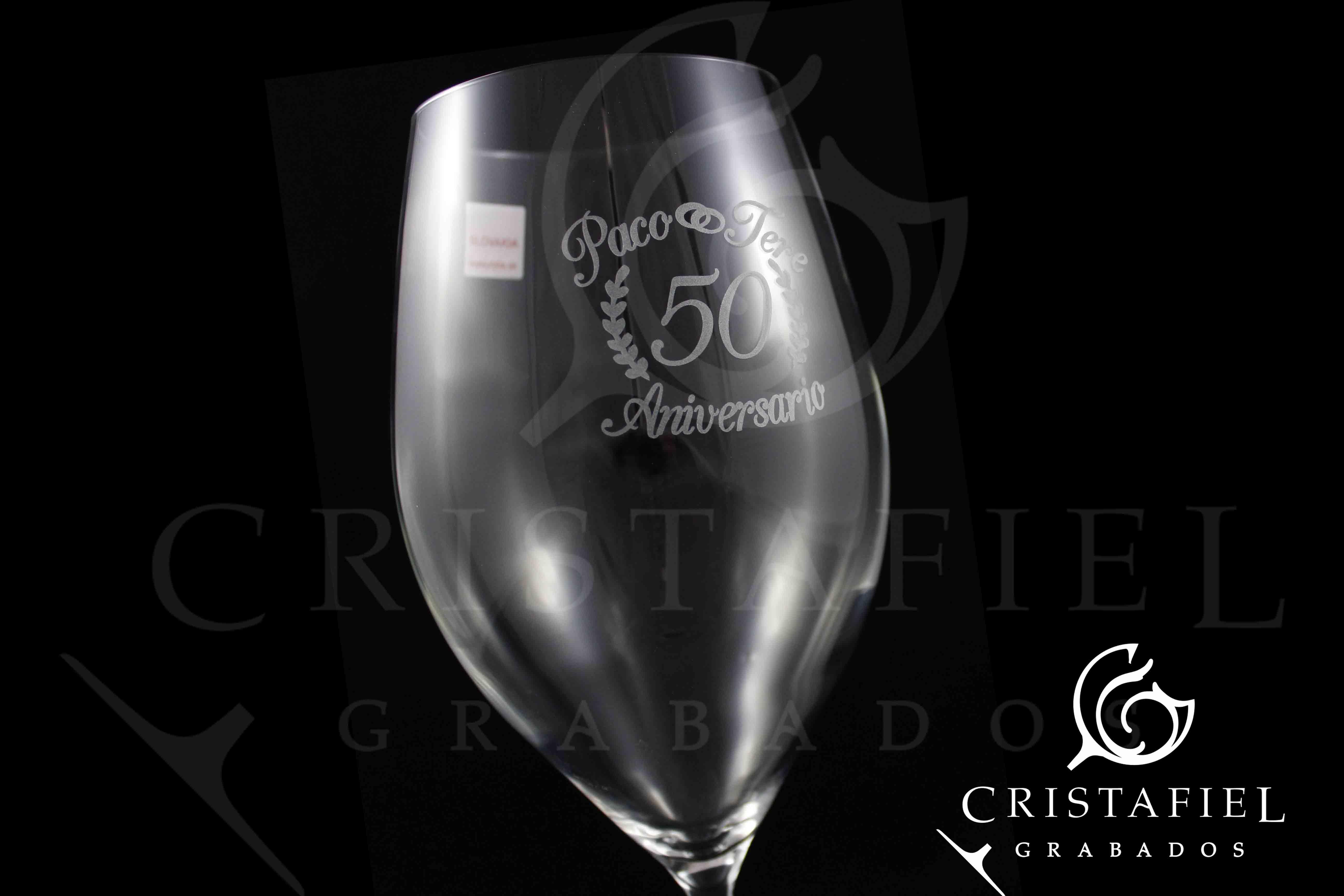 Regalo Aniversario Copas Grabadas Grabados Cristafiel