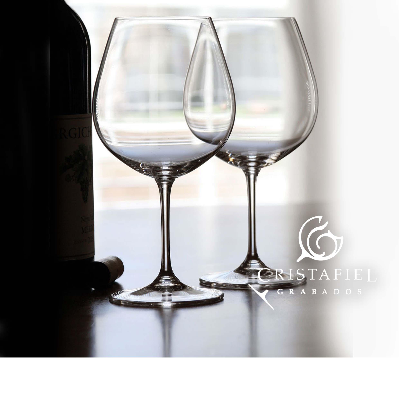 2 Copas Riedel Burgundy 416/7 Grabados Cristafiel