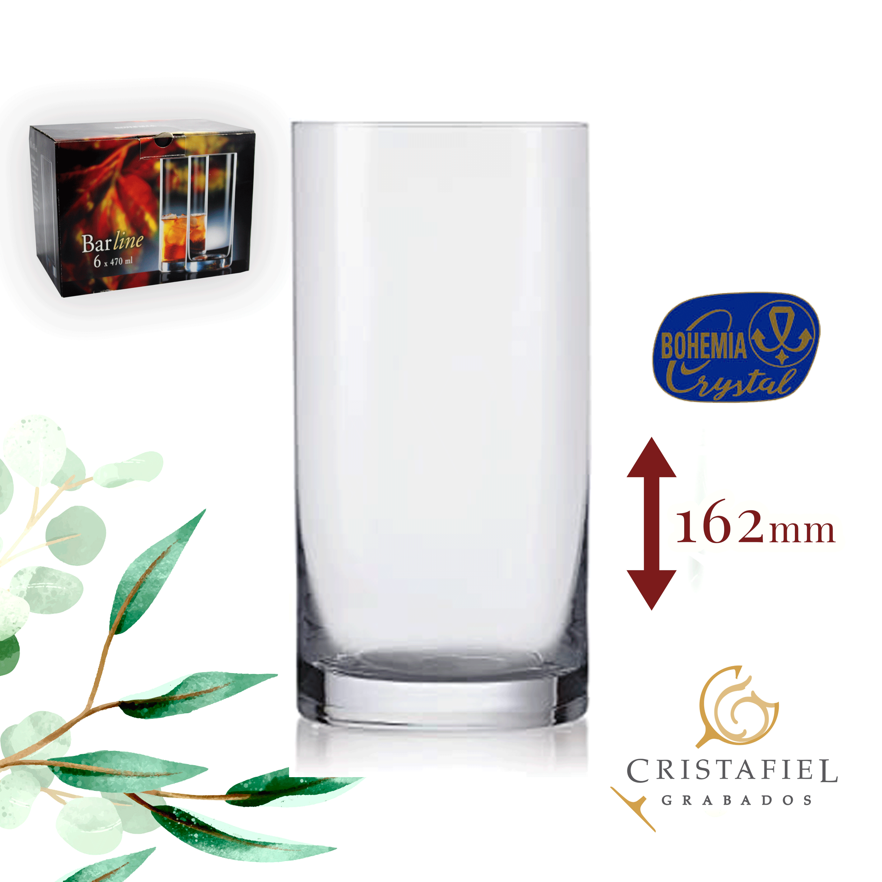 Vasos Barline 470ml Outlet Grabados Cristafiel