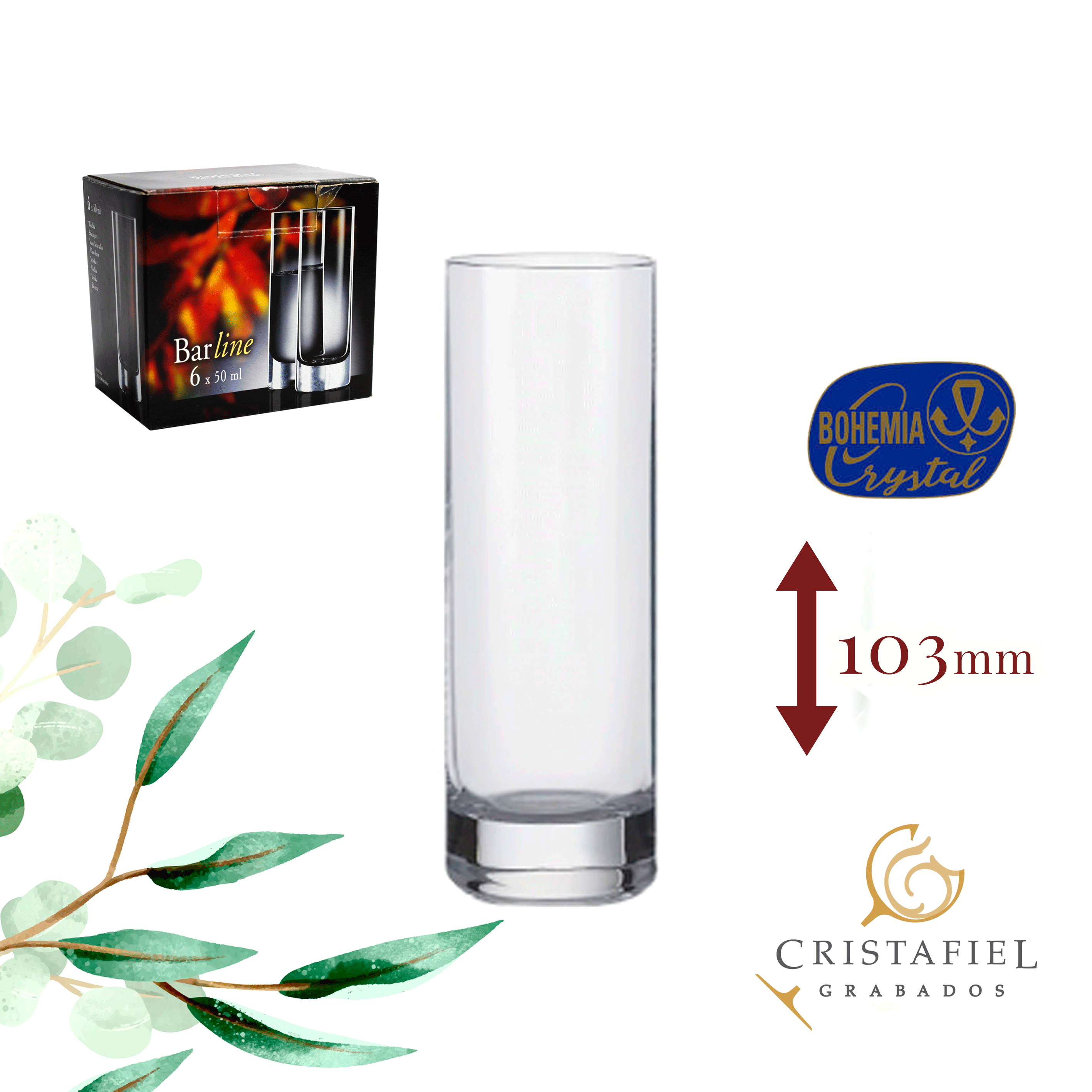 Vasos Barline 50ml Grabados Cristafiel Outlet